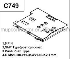 push push sim card connector 6pin, View push push sim card