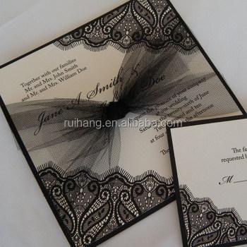 Square Prefect Top Grade Lace Royal Luxury Muslim Handmade Wedding Invitation Cards