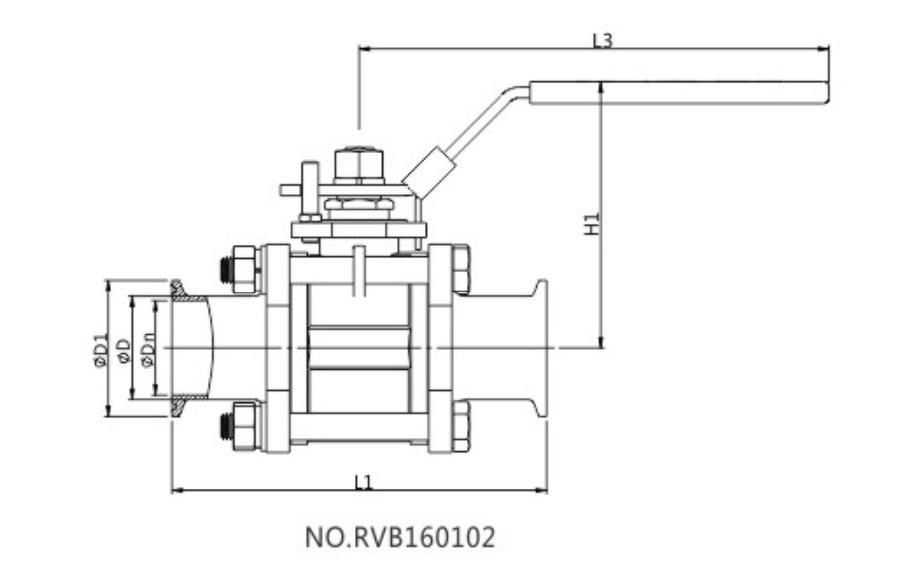 Rf Ss304 316l 3 Pcs Full Port Sanitary Stainless Steel Tri