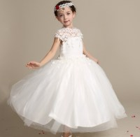 Wedding Dress 2018 Children Long Frock Design White