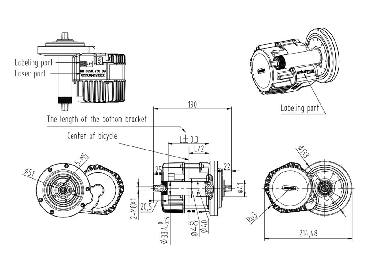 8fun Electric Bicycle Mid Drive Motor Bafang Hd M615 Ebike
