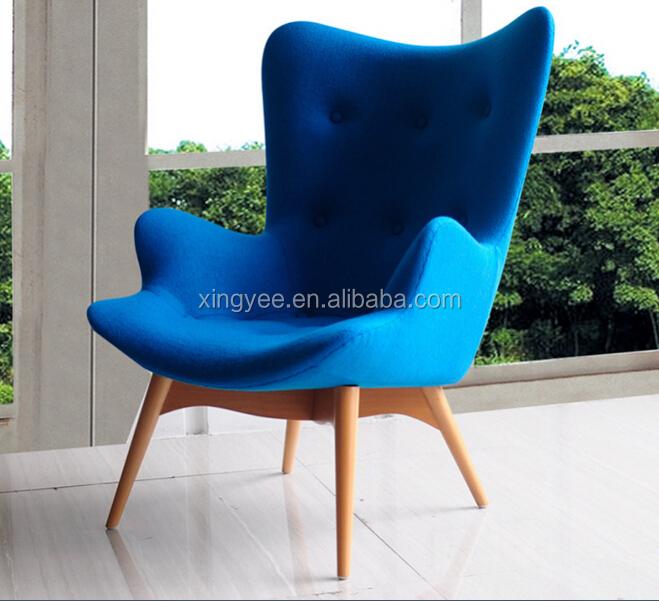 salon moderne meubles de fauteuil tissu featherston chaise longue avec repose pieds en bois grant