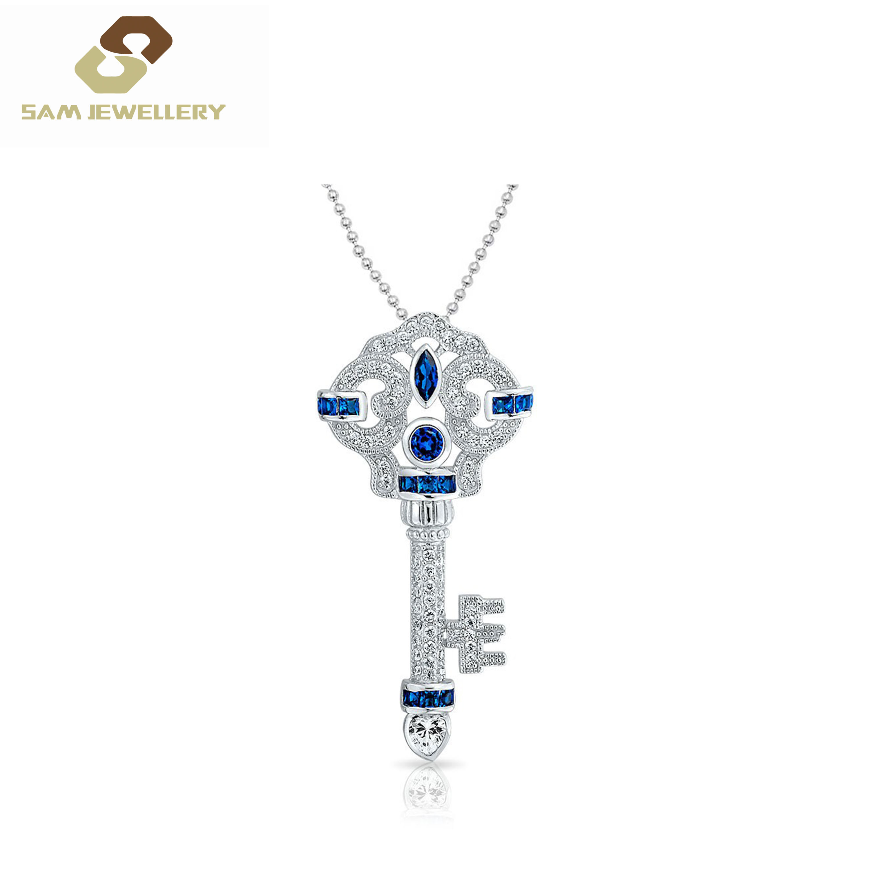 Lock To Your Heart Shining Cz Blue Sapphire Pendant For