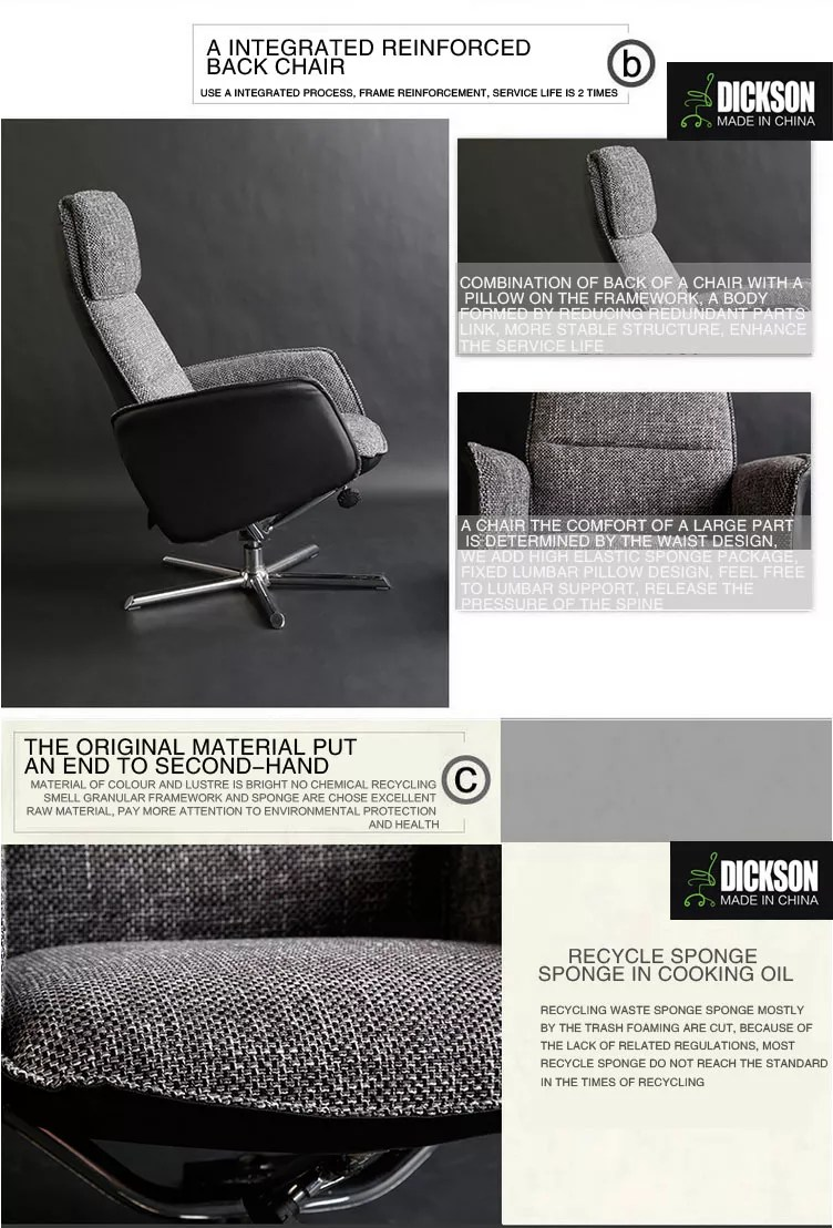 grey material office chair belvedere salon chairs dickson french fabric design functional with footrest