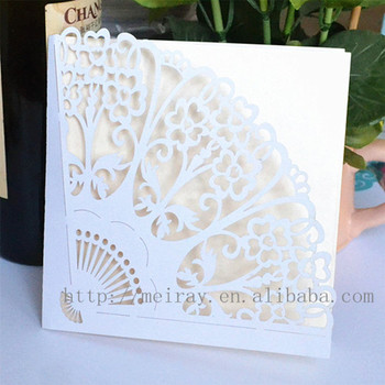 Any Logo Theme And Folk Art Style Paper Material Fan Wedding Invitation Card