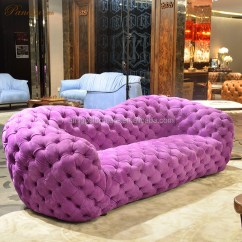 Chesterfield Style Fabric Sofa Purple Velvet New Classic With Crystal Buttons