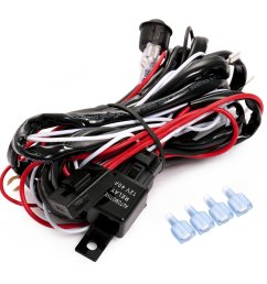 get quotations utheing led work fog light bar wiring harness relay kit fuse 12v 40a on off [ 1500 x 1500 Pixel ]