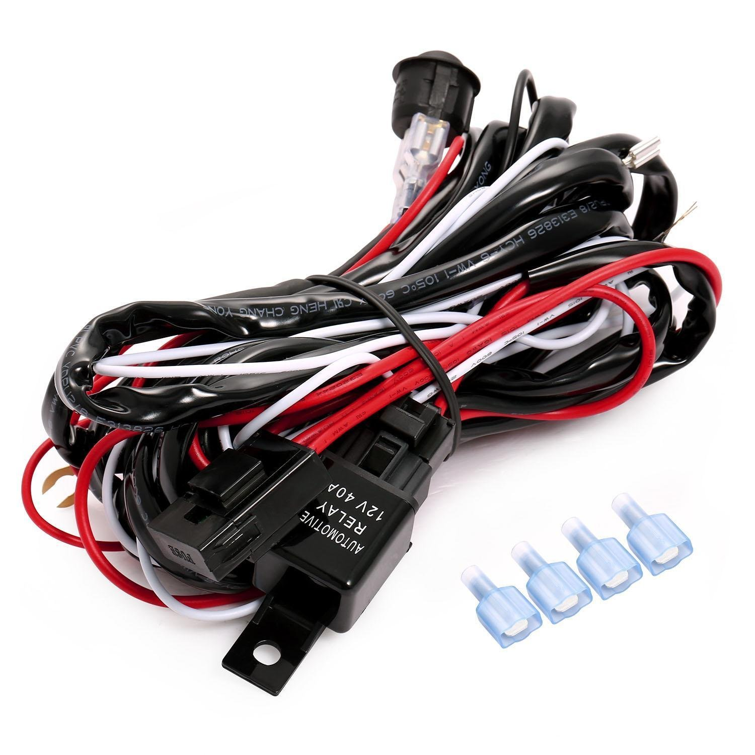 hight resolution of get quotations utheing led work fog light bar wiring harness relay kit fuse 12v 40a on off