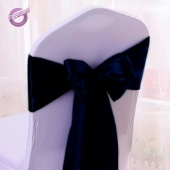 Holiday Decorative Chair Covers Bathtub Lift Reviews Bs00042 Wholesale Wedding Navy Satin Cover Sash Bow For Decoration