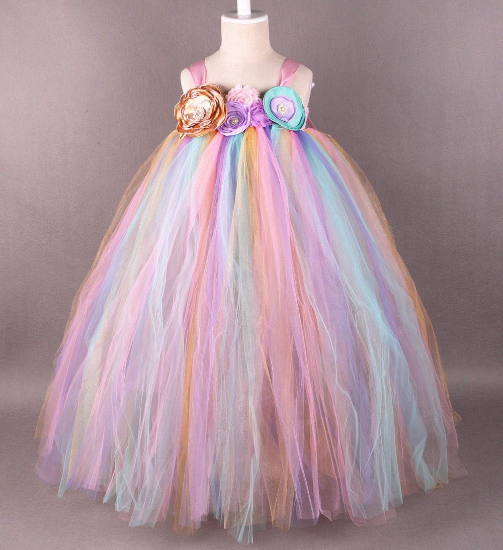 Rainbow Flower Girl Dress Tutu Princesa Muchachas de Los Niños de ...