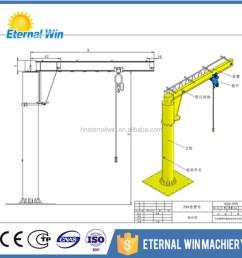 henan eternalwin brand manual control type jib crane 360 degree light duty jib crane price [ 1000 x 1000 Pixel ]