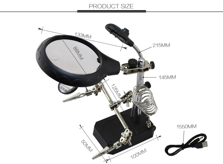 TE-800 High Quality Welding Magnifying Glass 5 LED Light Lens Auxiliary Clip Desktop Magnifier Third Hand Soldering Repair Tool