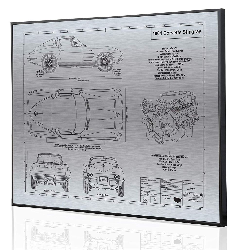 medium resolution of get quotations corvette c2 l76 engine blueprint artwork laser marked personalized the perfect corvette gifts