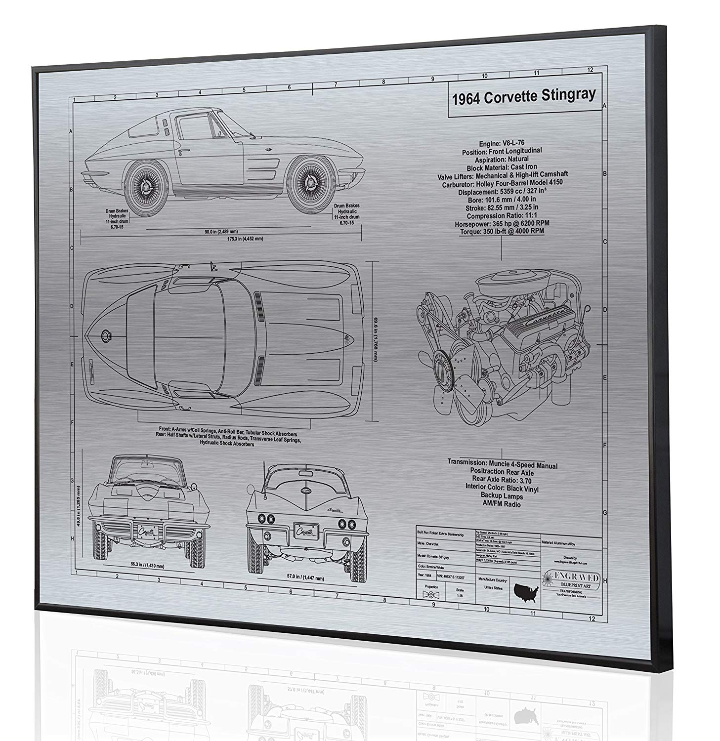 hight resolution of get quotations corvette c2 l76 engine blueprint artwork laser marked personalized the perfect corvette gifts