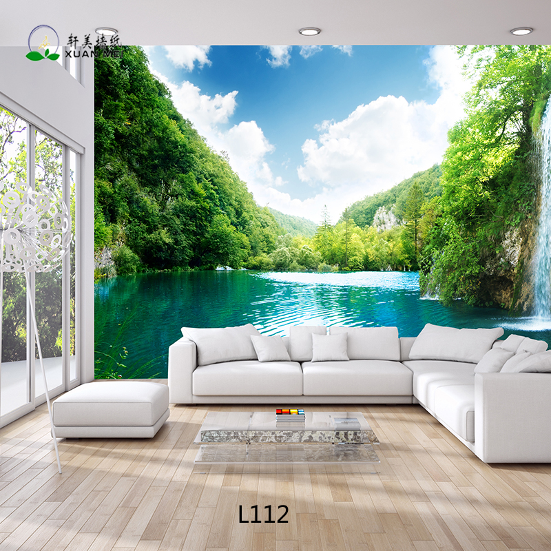 wallpaper living room wall decor ideas with brown leather furniture beautiful landscape 3d customized paper mural