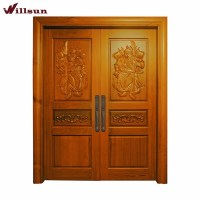 Golden Teak Wood Main Door Carving Designs Luxury Villa