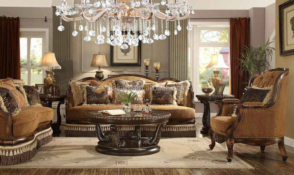 best price living room furniture cozy color palette brown victorian style solid wood fabric sofa set factory direct sale american moq 1
