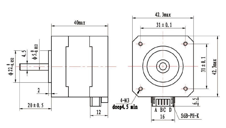 NEMA17 Stepper Motor 40mm Long, 1.2A stepper motor 42