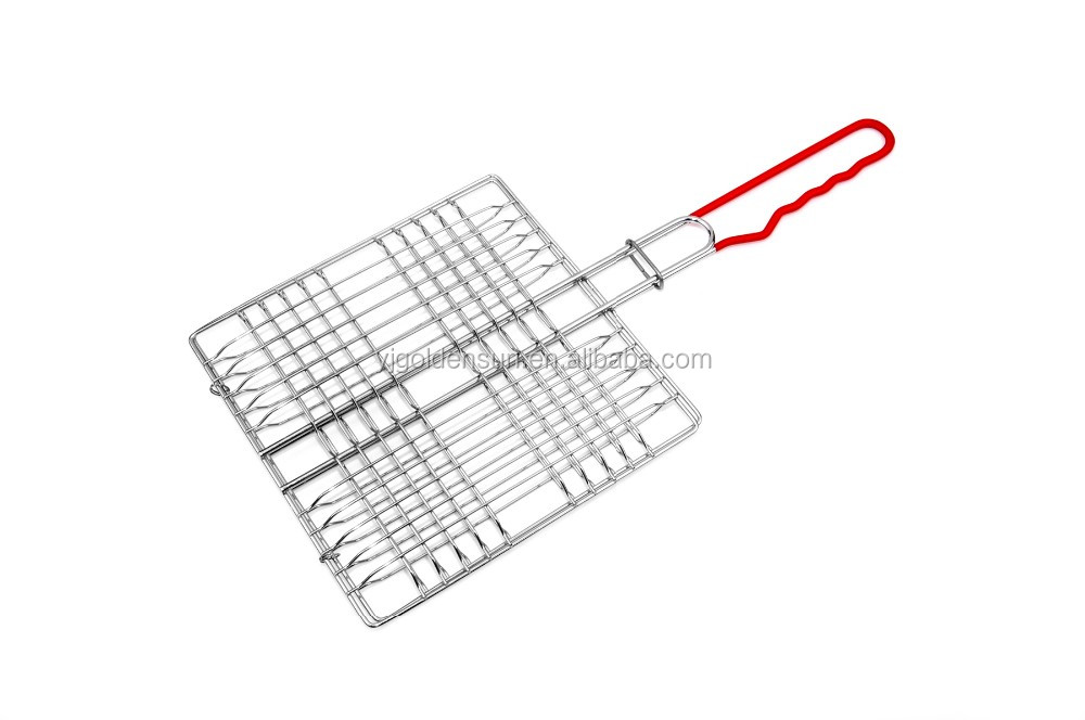 Chrome Plated 4 Four Hamburger Bbq Grill Basket With Red