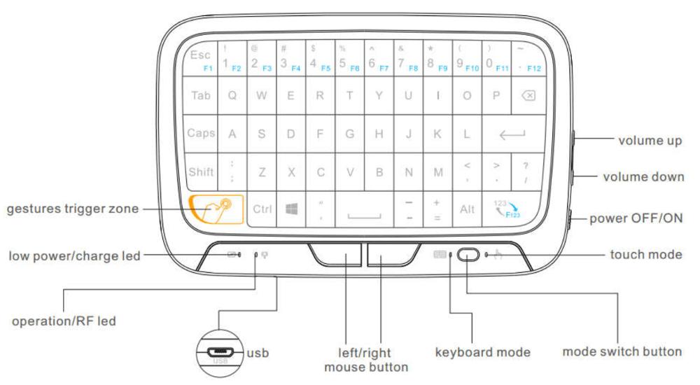 H18 Wireless Keyboard H18 2.4g Touchpad Mini Gaming