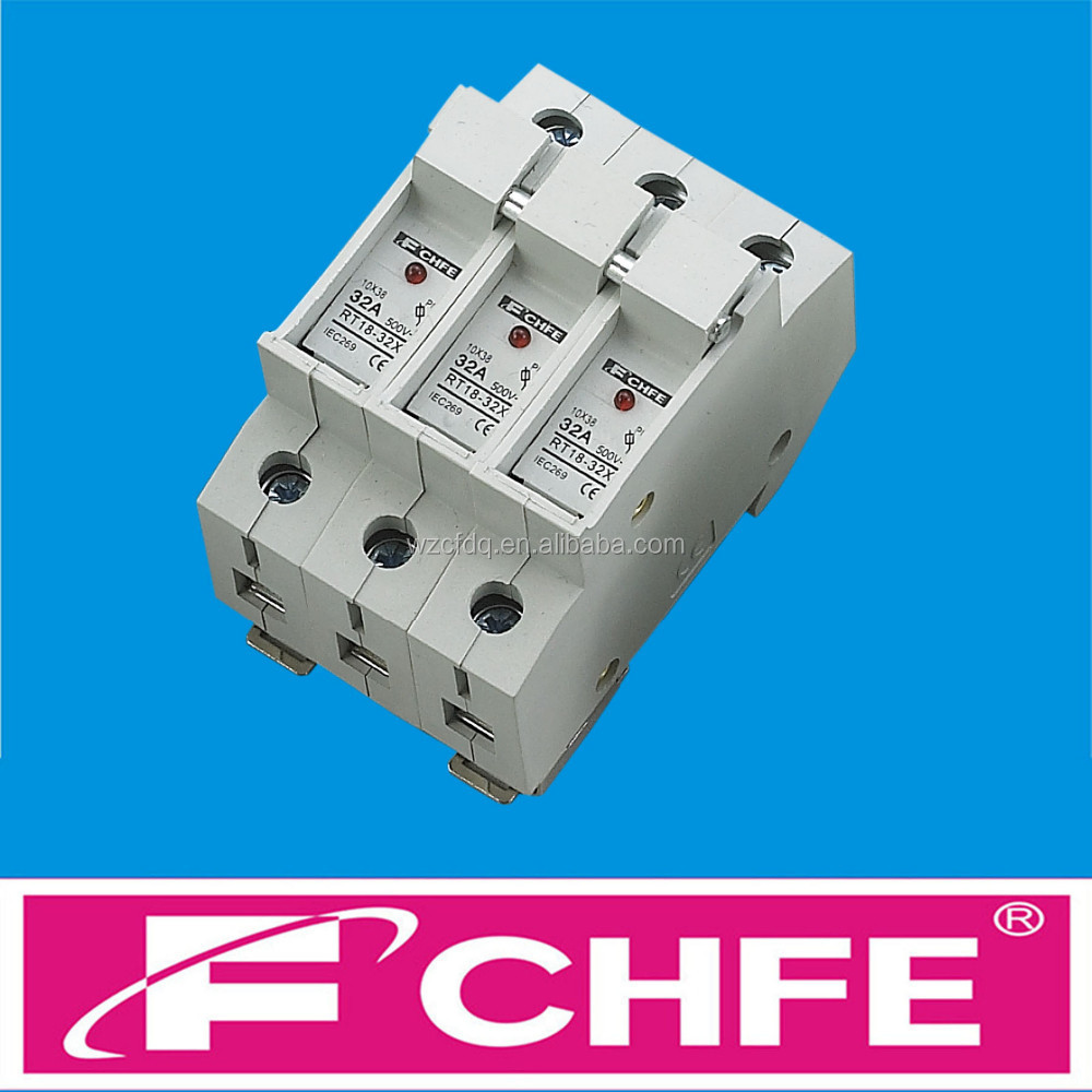 medium resolution of fchfe cf05 rt18 32x 10x38 3p 32a 500v cylindrical fuse holder