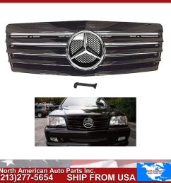 get quotations mercedes benz w140 s class 1992 1999 all black glossy grille with chrome oem [ 1400 x 1400 Pixel ]