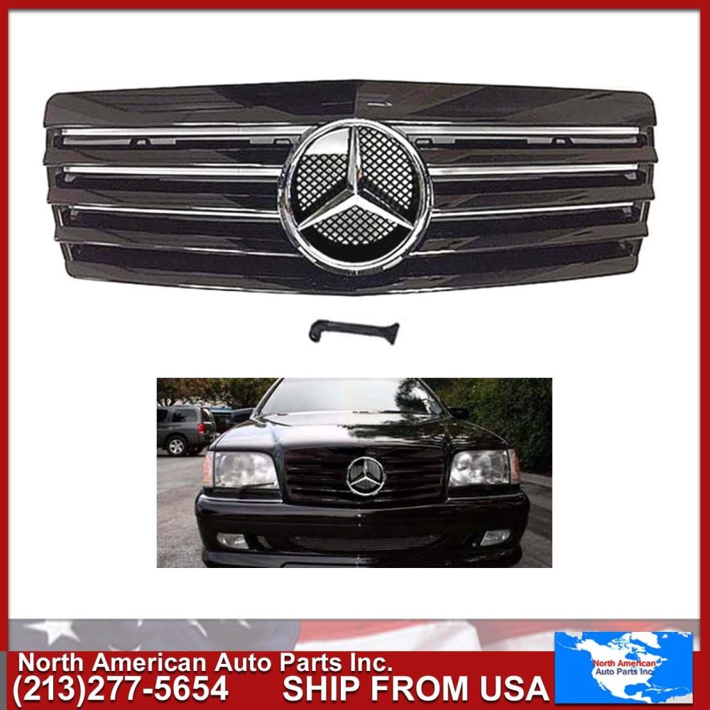 medium resolution of get quotations mercedes benz w140 s class 1992 1999 all black glossy grille with chrome oem