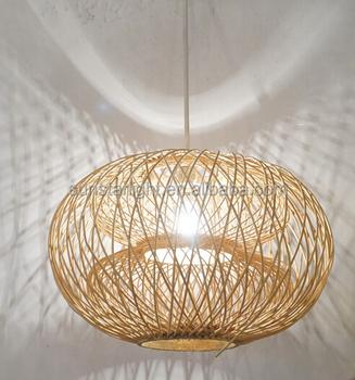 Custom Made China Modern Handmade Natural Material Bamboo Hanging Chandelier Pendant Lamp