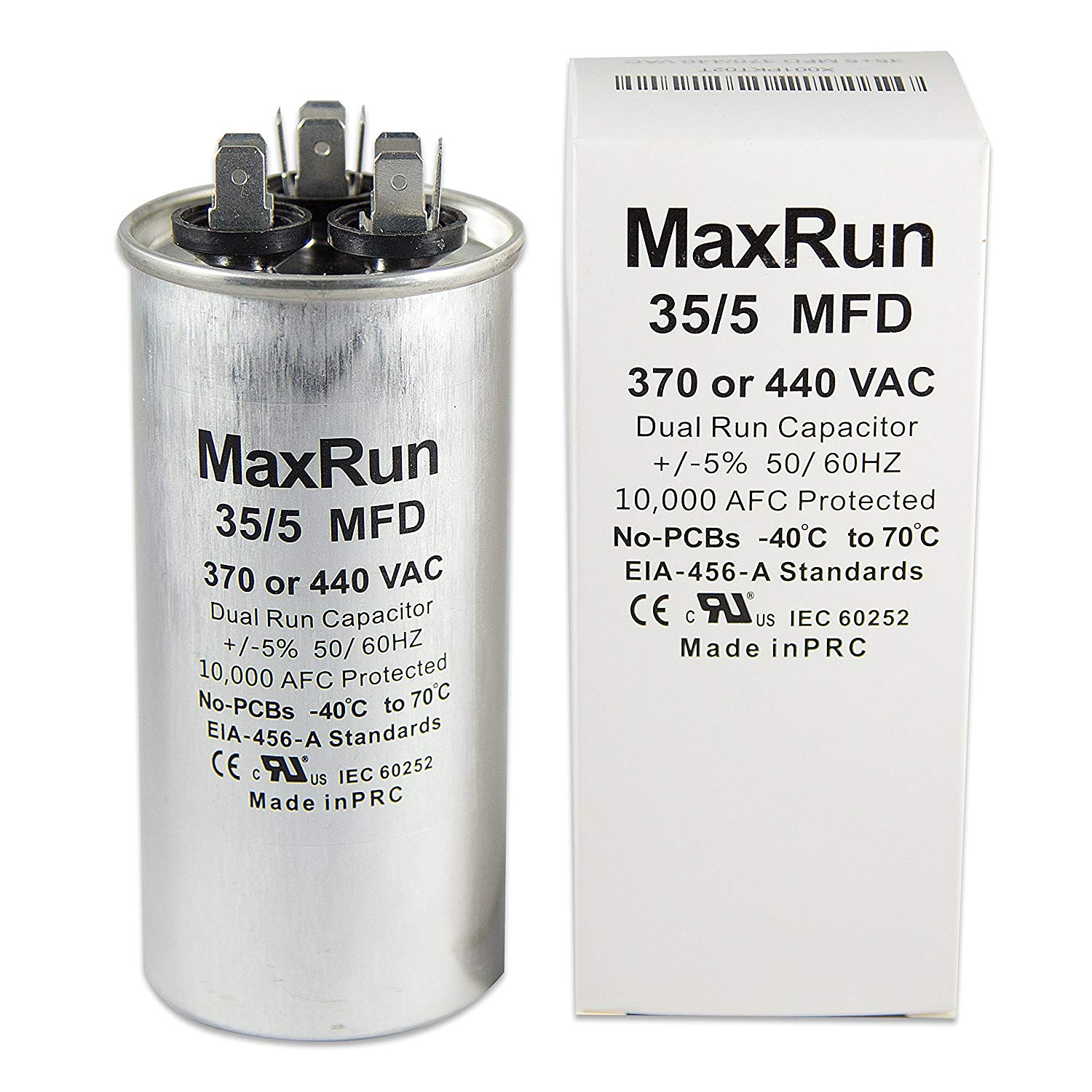 hight resolution of get quotations maxrun 35 5 mfd uf 370 or 440 volt vac round motor dual run capacitor