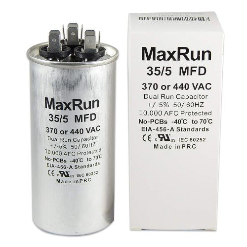 small resolution of get quotations maxrun 35 5 mfd uf 370 or 440 volt vac round motor dual run capacitor