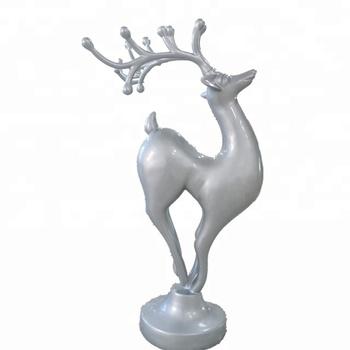 Life Size Christmas Reindeer Decoration Fiberglass Silver Sculpture Indoor Decorating