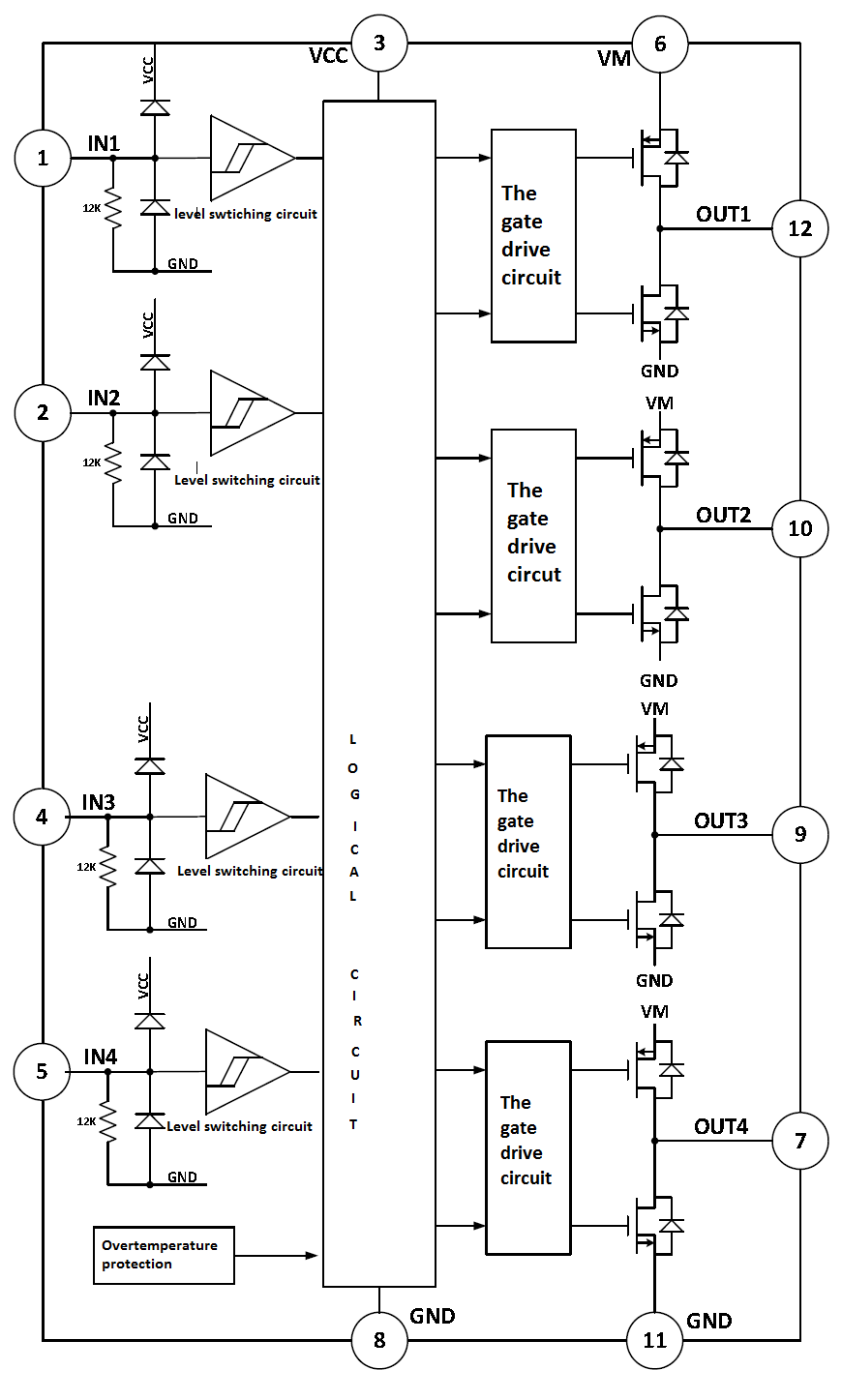 hight resolution of integrated circuit for pwm current in regular or limit 12v brushless dc motor controller