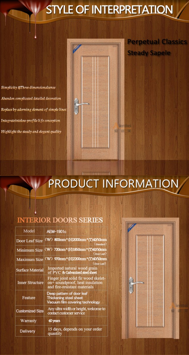 Professional Factory Pvc Interior Bedroom Door Designs India