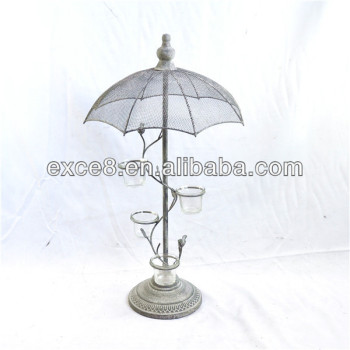 Vintage Garden French Umbrella Tree Votive Candle Holder