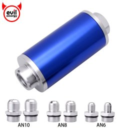 get quotations evil energy inline fuel filter high flow 100 micron cleanable 6an 8an 10an 58mm universal blue [ 1920 x 1920 Pixel ]