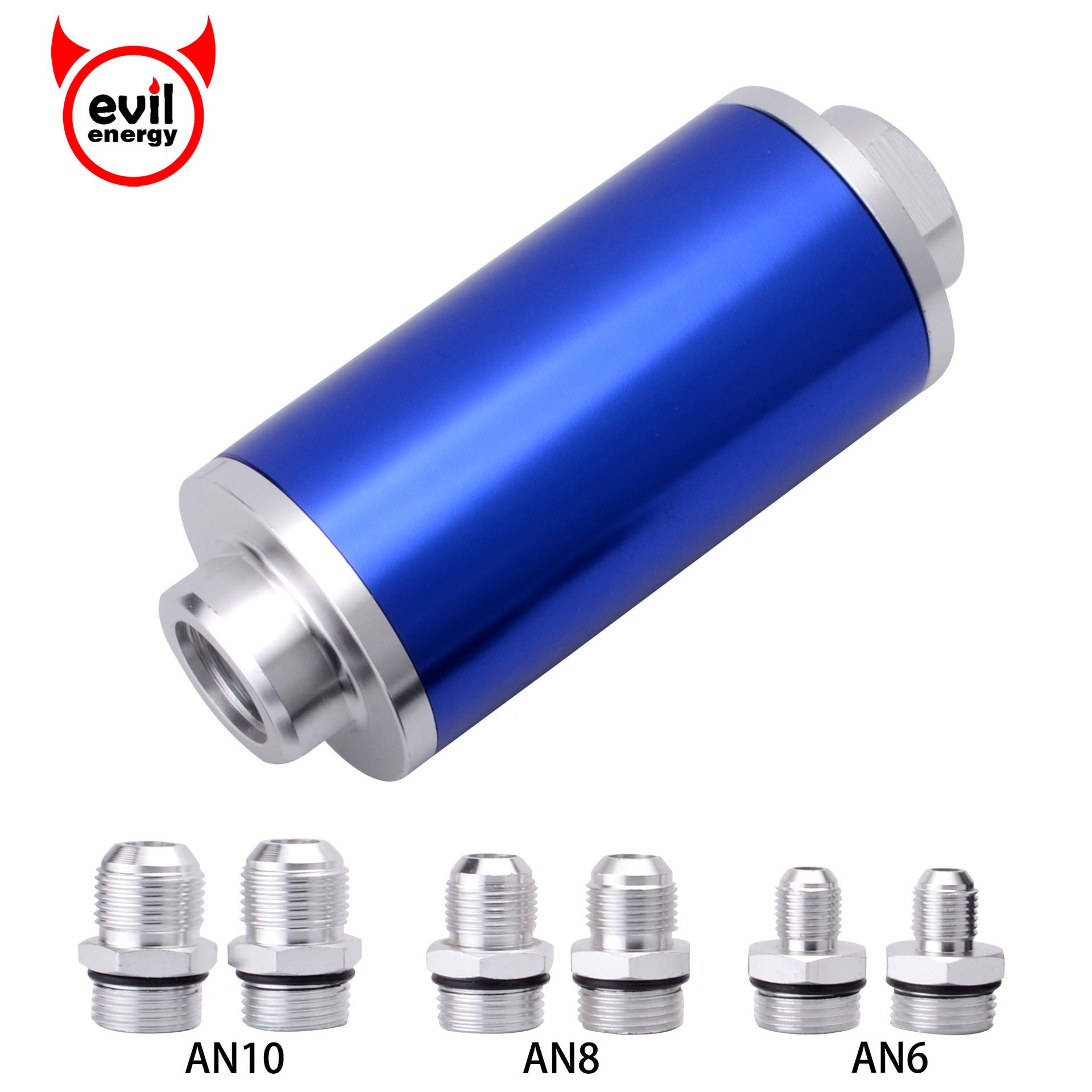 hight resolution of get quotations evil energy inline fuel filter high flow 100 micron cleanable 6an 8an 10an 58mm universal blue