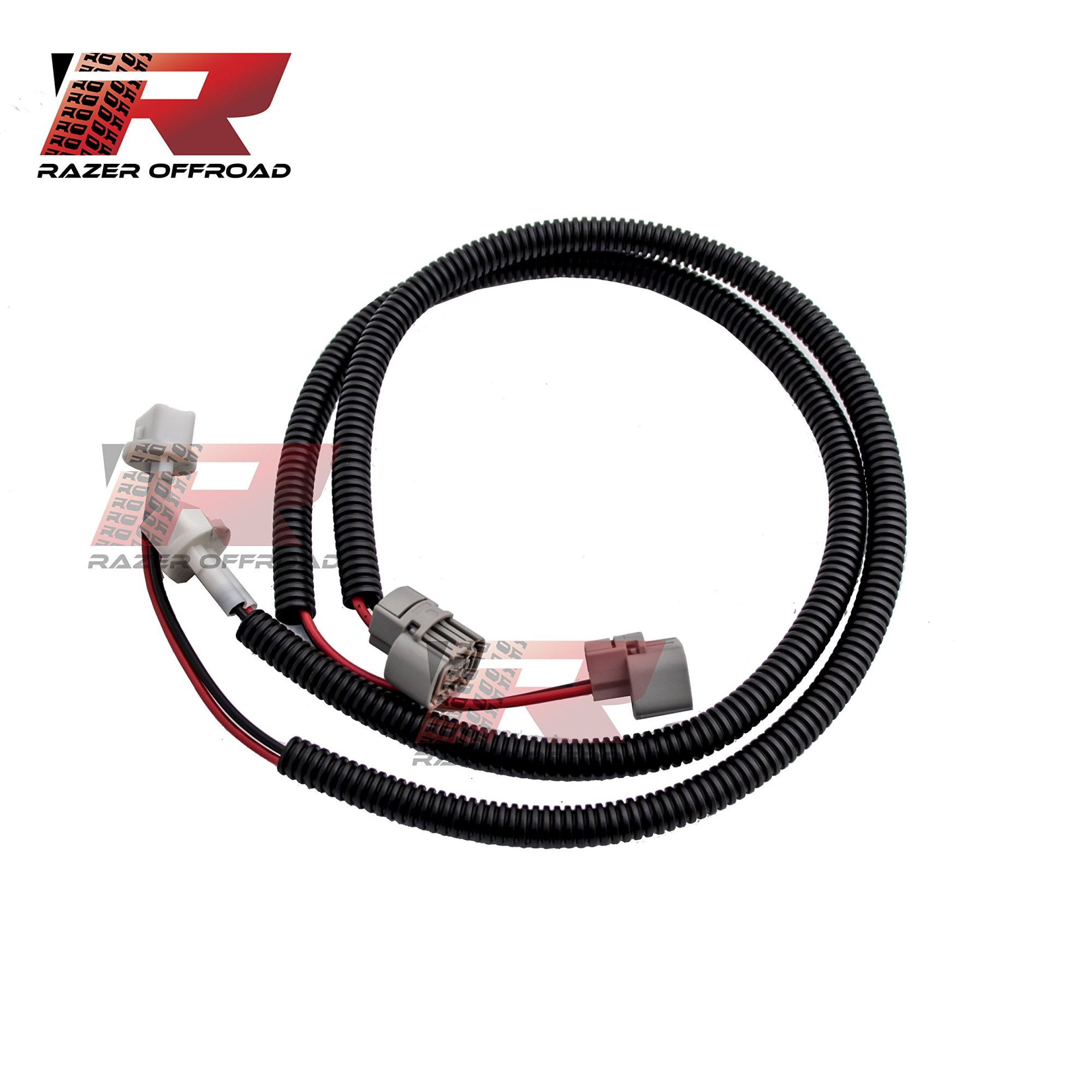 hight resolution of get quotations razer auto black 1 pair 24 fog light extension cable wire harness with corrugated wire