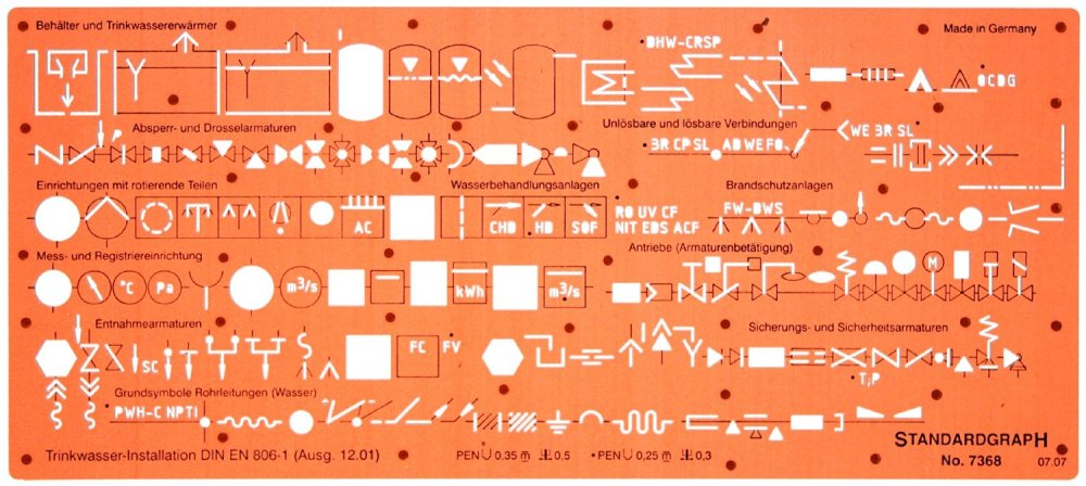 medium resolution of sanitary piping water installation schematic diagram symbols drawing drafting template stencil