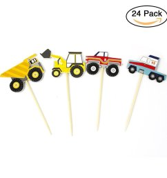get quotations cianowegy 24pcs truck tractor cupcake toppers excavator dumpers car cake inserted card decor dessert muffin cake [ 1001 x 1001 Pixel ]