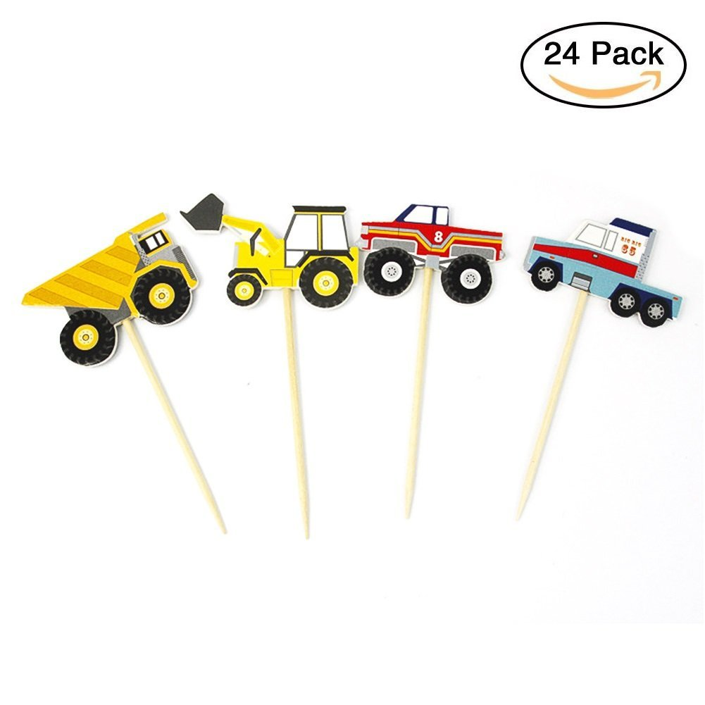 hight resolution of get quotations cianowegy 24pcs truck tractor cupcake toppers excavator dumpers car cake inserted card decor dessert muffin cake