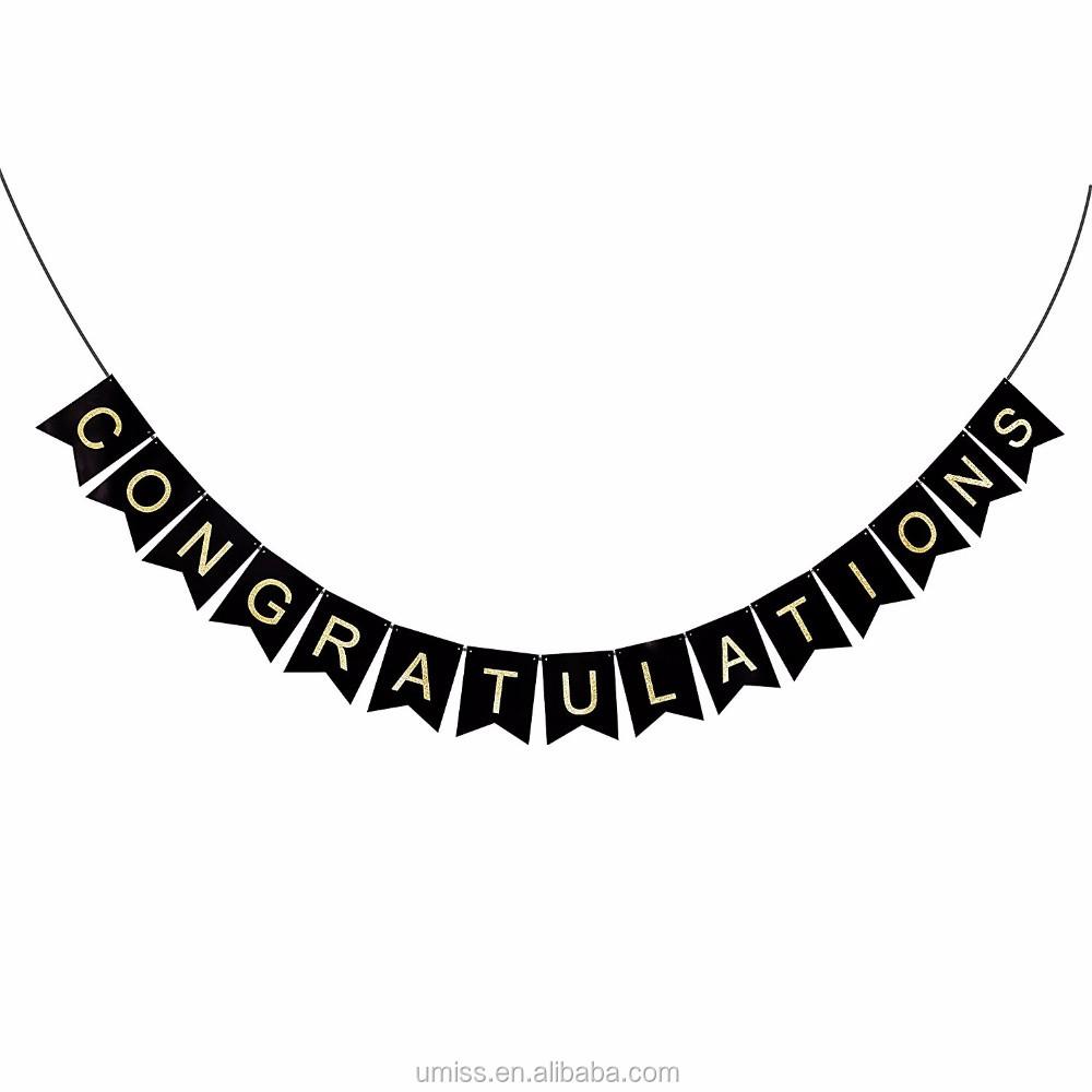 Umiss Congratulations Congrats Swallowtail Banner,Glitter