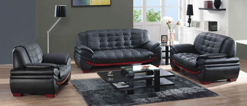 set of leather sofas queen size sofa bed mattress dimensions modern black