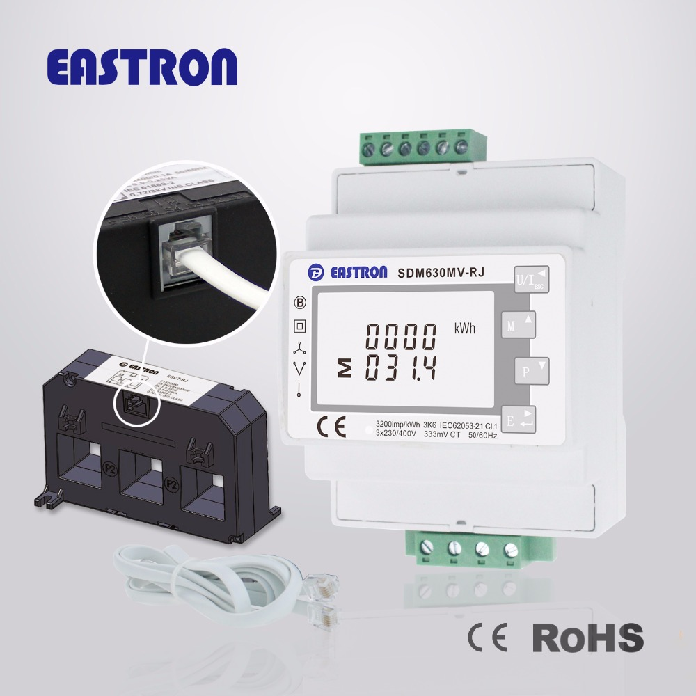 medium resolution of sdm630mv rj 3 phase multifunction energy meter easy wiring with rj12 ct lcd digital energy meter 100ma modbus