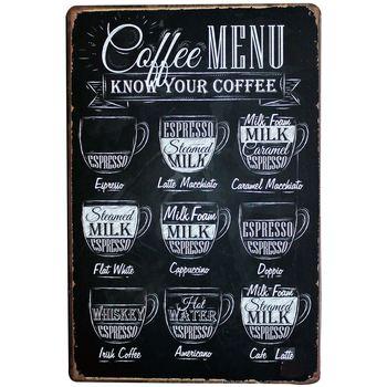 Chic Bar Coffee Menu Decor Neon Metal Tin Sign Vintage