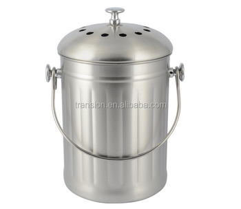 compost bin for kitchen drawer organizer ideas 1gallon indoor stainless steel warm pail with lid including two charcoal filter crock buy 1 gallon