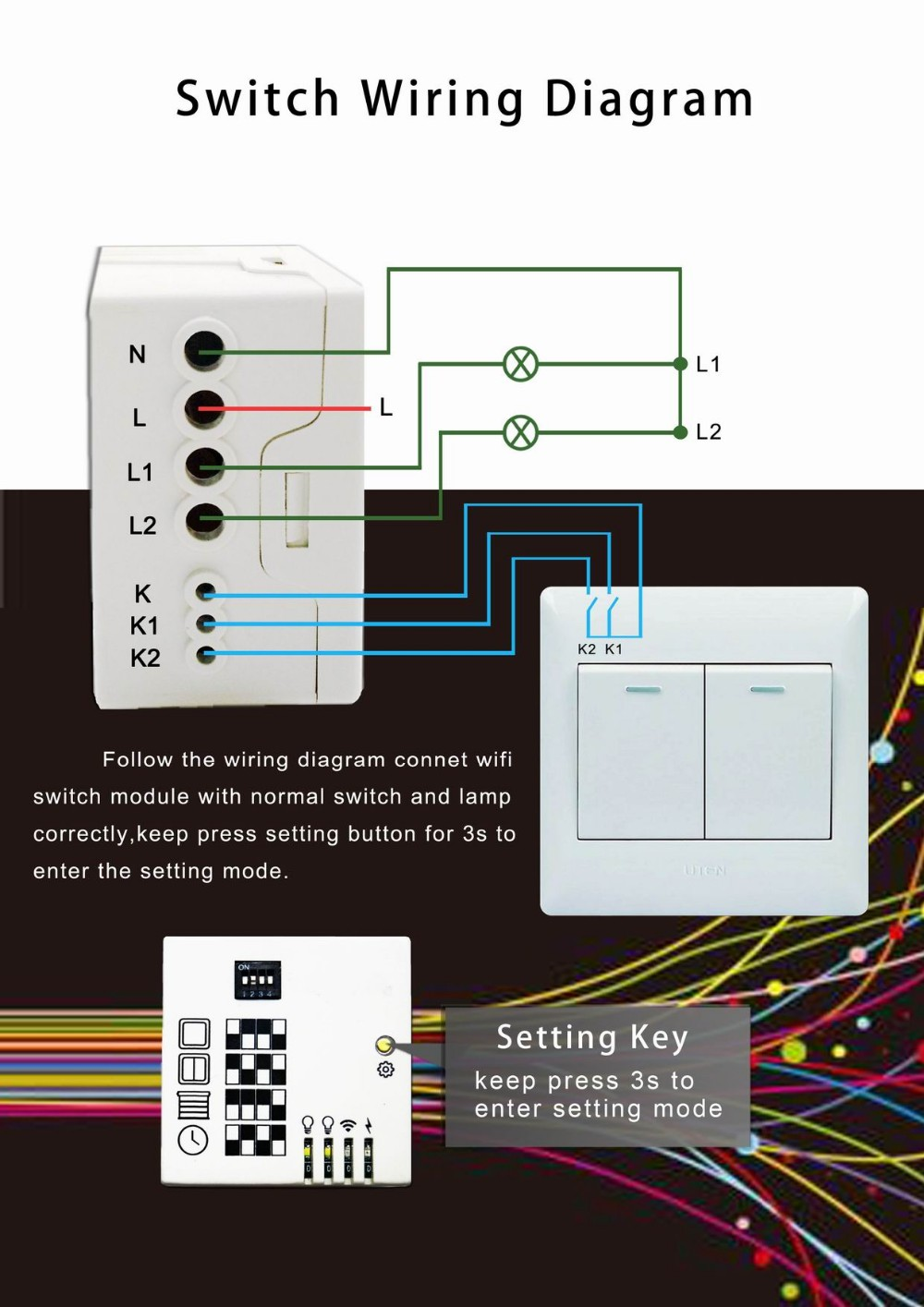 medium resolution of lanbon sonoff unique dip switch changed into 1 2 3 gang switch for curtain fan dimmer