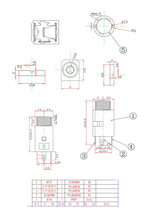 small resolution of pj342 3 5mm 3 pin pcb mount jack socket smt stereo jack