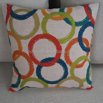 wholesale chair cushions with ottoman linen cotton fabric dinning donut printed throw plain home decorative pillow cover