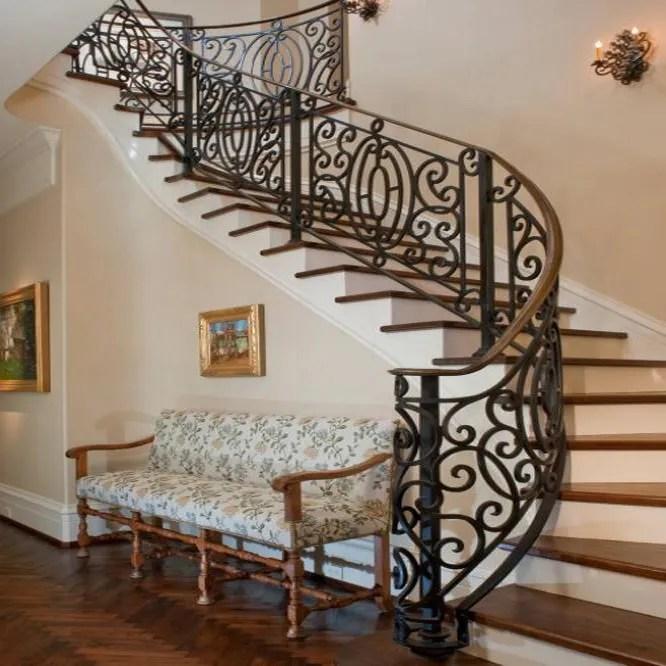 Wrought Iron Railings Wrought Iron Ornament Stair Railings | Curved Wrought Iron Railings | Colonial | Wood | Wall Mounted | Outdoor | Veranda