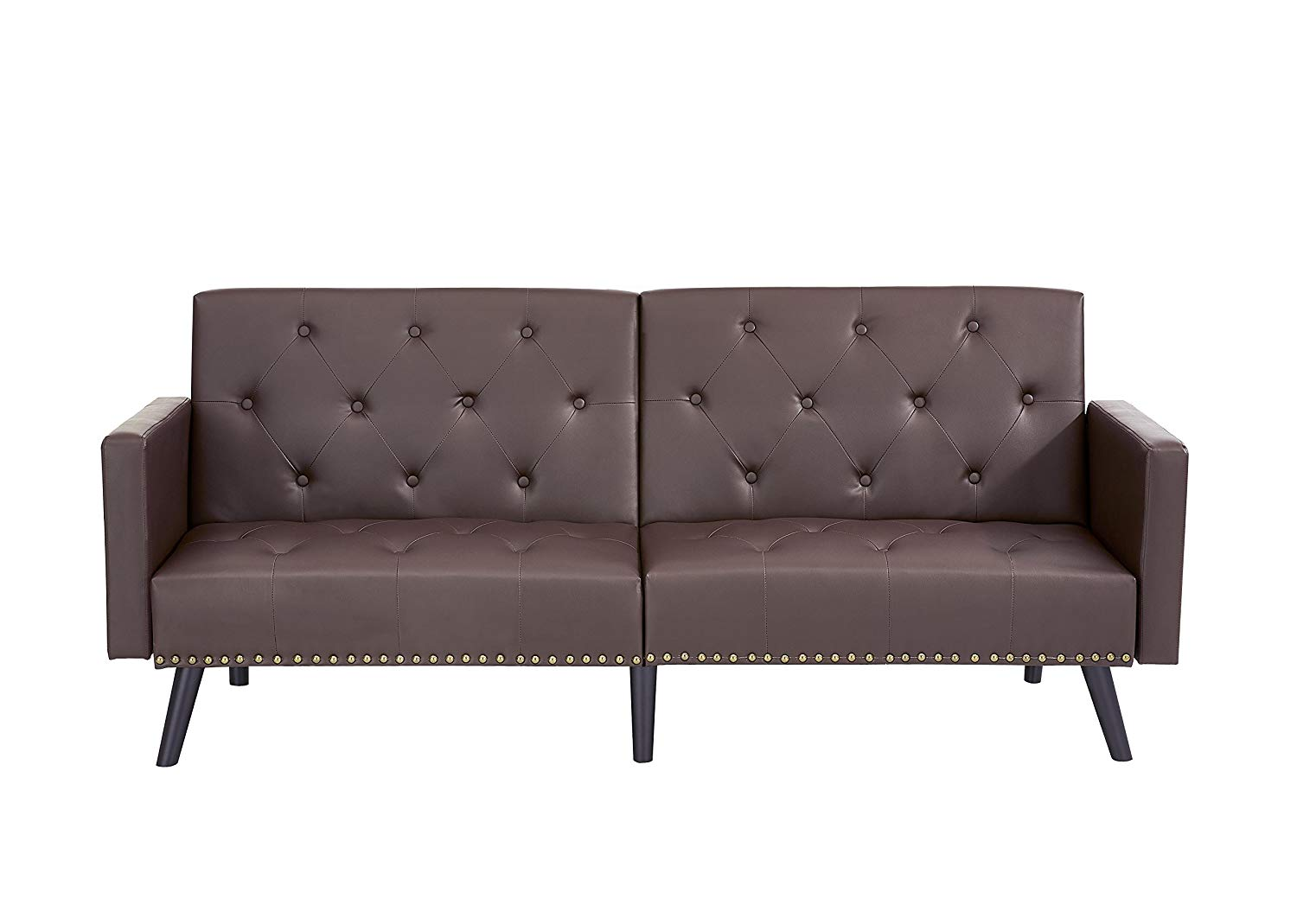 atherton home soho convertible futon sofa bed and lounger tangerine cheap manhattan find get quotations naomi tufted split back espresso faux leather